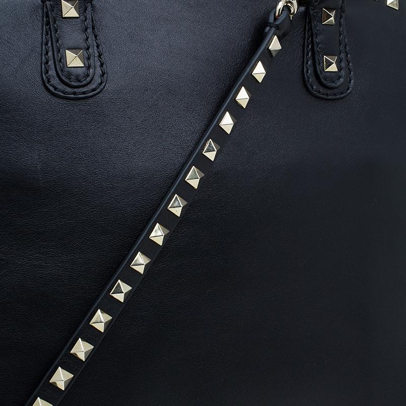 Valentino Garavani Black Leather Rockstud Dome Bag