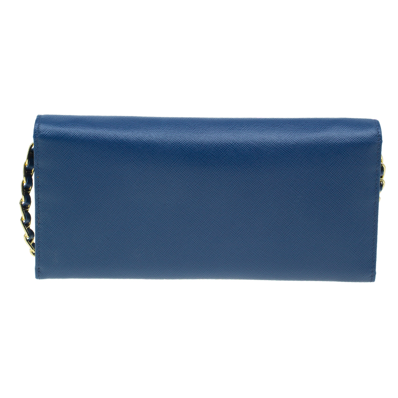Prada Blue Saffiano Leather Metal Oro Chain Wallet