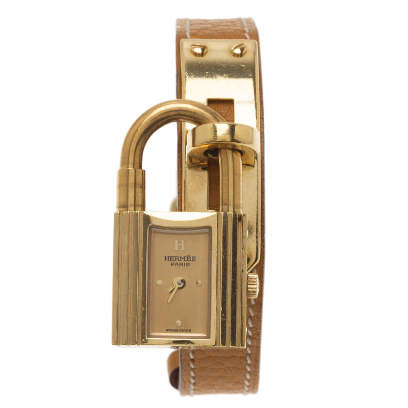 Hermes Gold Gold-Plated Stainless Steel Kelly Women's Wristwatch 20MM