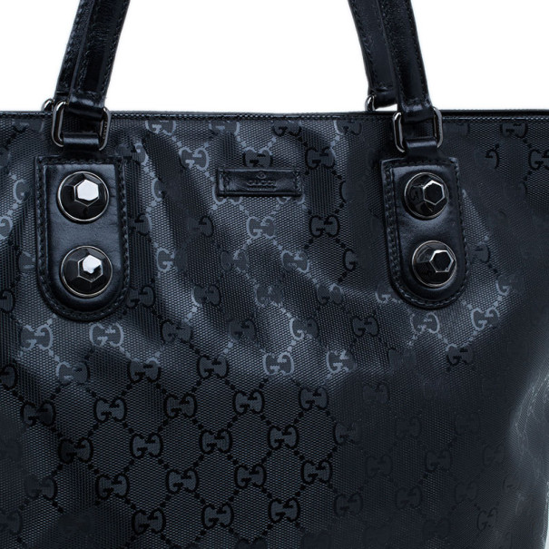 Gucci Black Coated Canvas Tall Tote