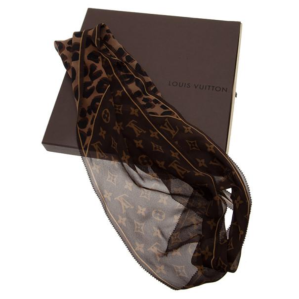 Louis Vuitton Leopard and Monogram Silk Scarf