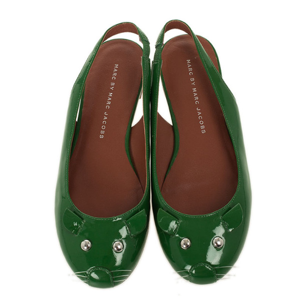 Marc by Marc Jacobs Green Patent Mouse Slingback Sandals Size 35.5