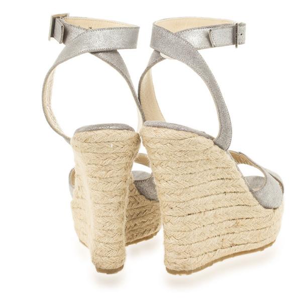 Jimmy Choo Metallic Ankle Wrap Phoenix Espadrilles Wedges Size 35