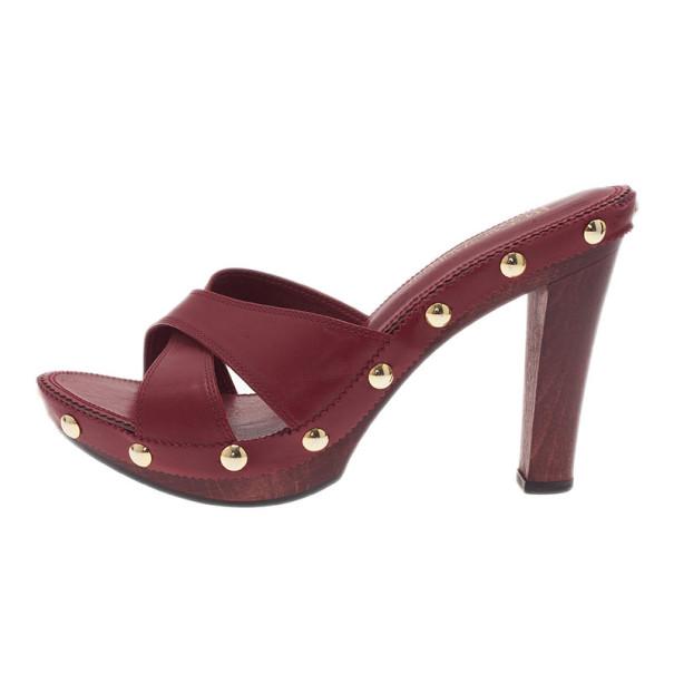 Saint Laurent Paris Red Leather Criss Cross Mules Size 38