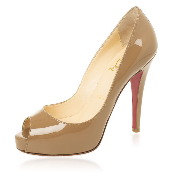 Christian Louboutin Camel Patent Very Prive Peep Toe Pumps Size 36