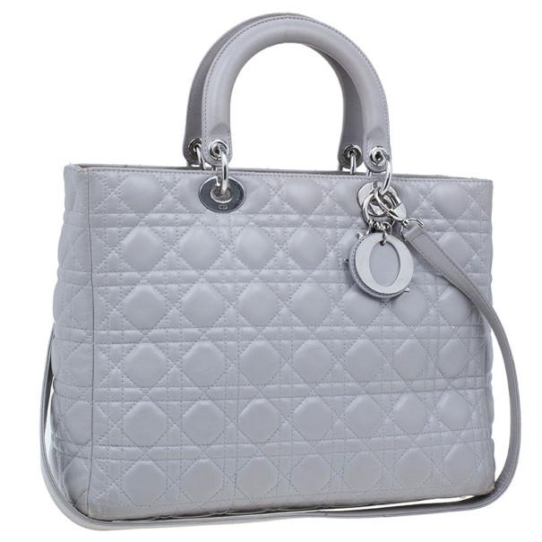 Dior Grey Lambskin Large Lady Dior