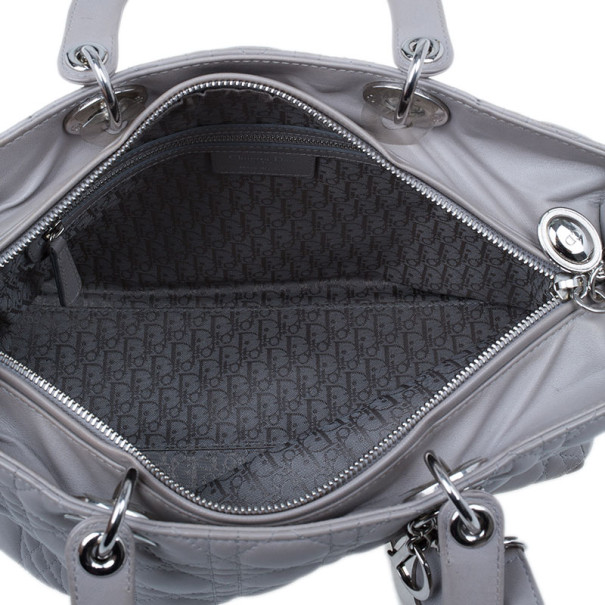 Dior Grey Lambskin Large Lady Dior