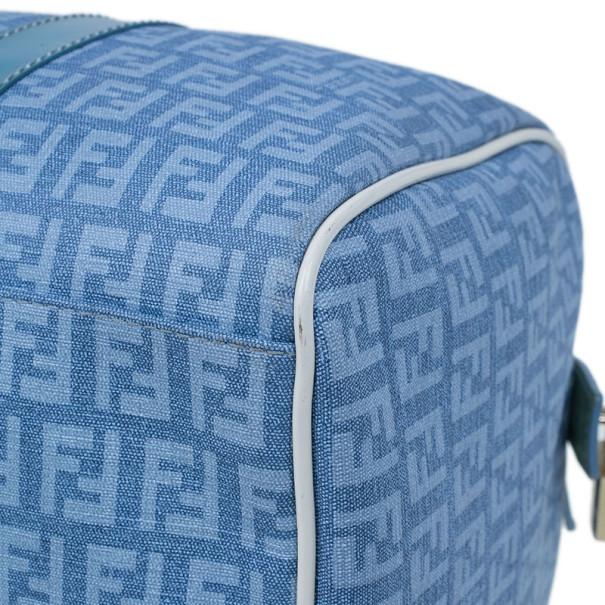 Fendi Blue Forever Zucca Boston Bag