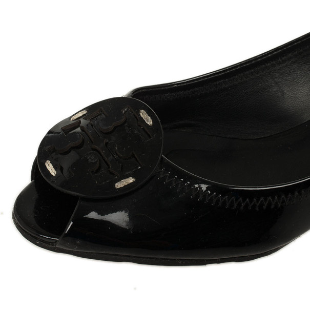 Tory Burch Black Patent Peep Toe Carol Mini Wedges Size 38Size 38