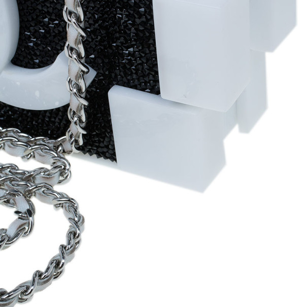 Chanel Black and White Crystal Lego Clutch