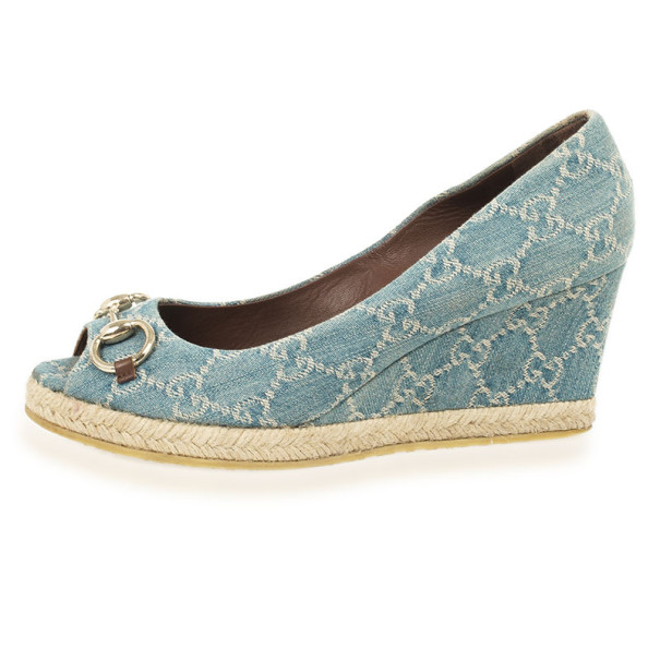 Gucci Blue GG Denim Horsebit Charlotte Espadrille Wedges Size 39