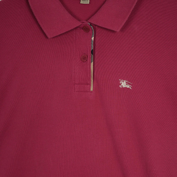 Burberry Fritillary Pink Check Placket Polo Shirt S