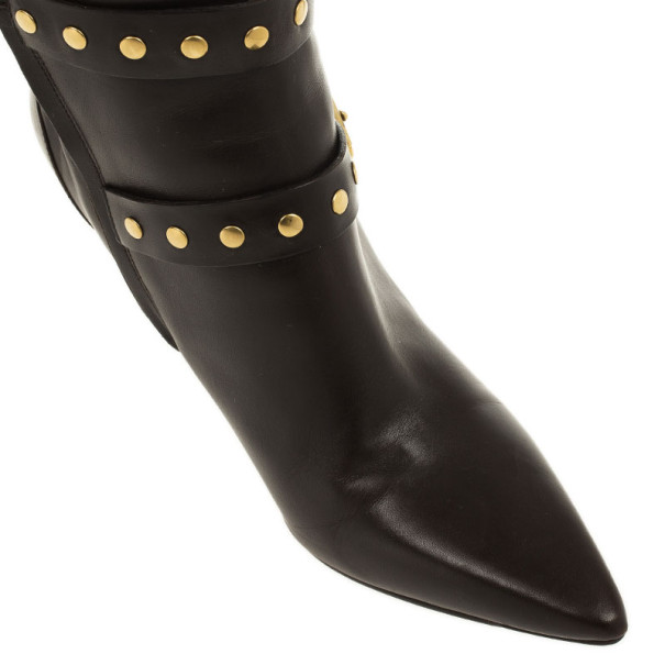 Burberry Brown Inset Check Print Leather Boots Size 37