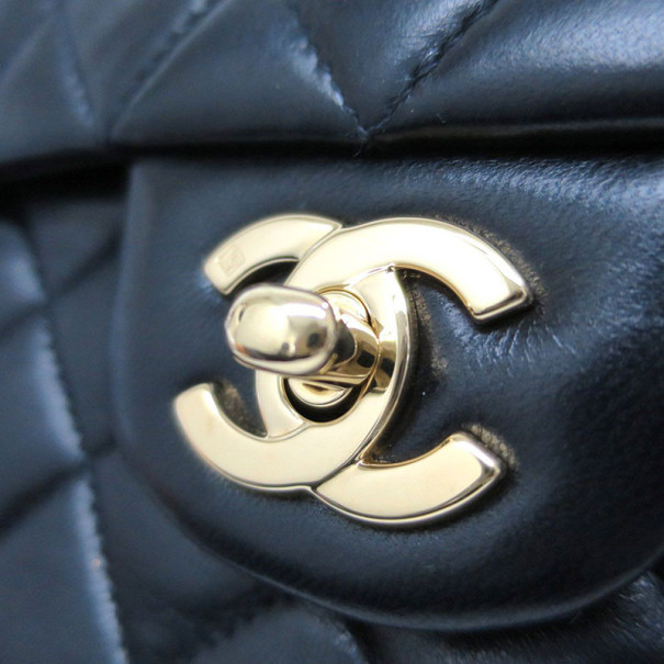 Chanel Black Lambskin Small Double Flap Shoulder Bag
