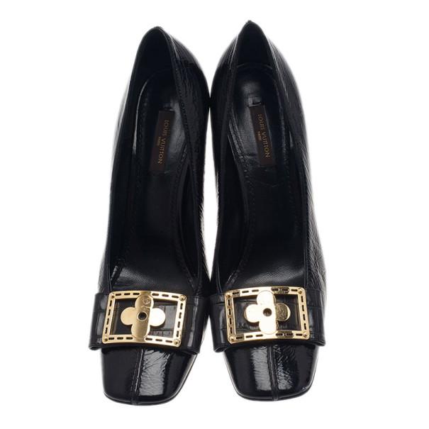 Louis Vuitton Black Patent Fleur Pumps Size 38