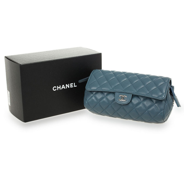 Chanel Blue Quilted Lambskin Classic Flap Make Up Pochette