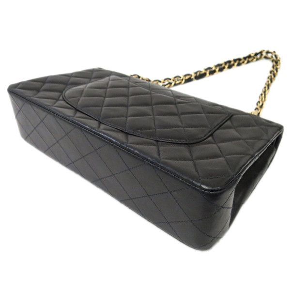 Chanel Black Lambskin Medium Double Flap Shoulder Bag