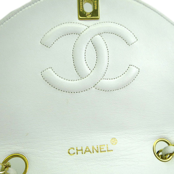 Chanel White Calfskin Double Chain Shoulder Flap Bag