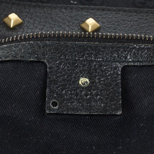 Gucci Black Monogram Studded Shoulder Bag