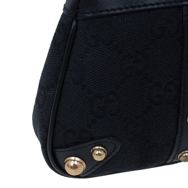Gucci Black Monogram Canvas Web Detail Pouch