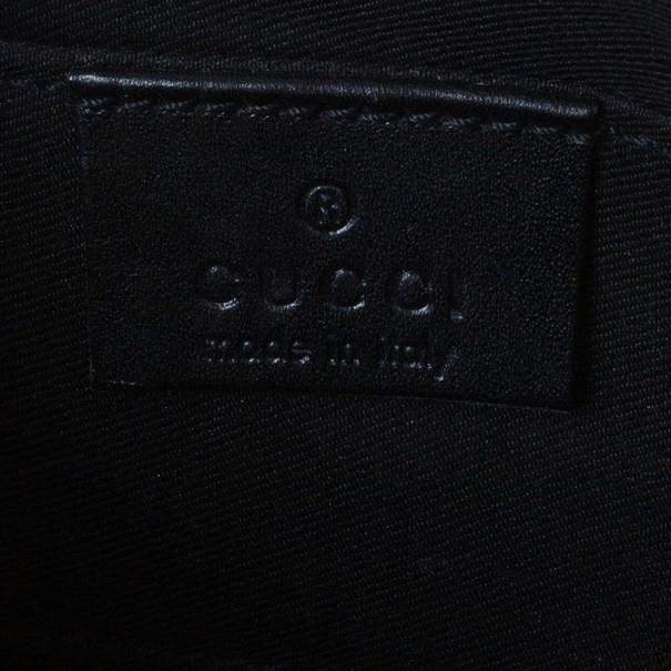 Gucci Black Monogram Canvas Web Detail Pouch