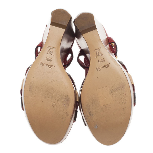 Louis Vuitton Red Patent Monogram Slingback Wedges Size 38.5