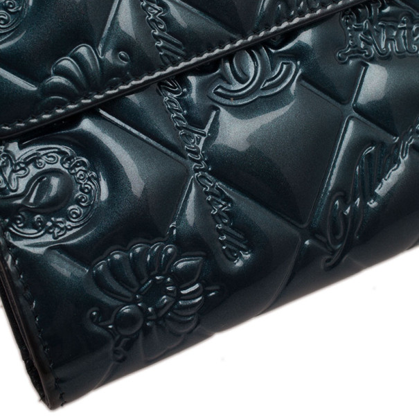 Chanel Teal Patent Symbols Lucky Charm Compact Wallet