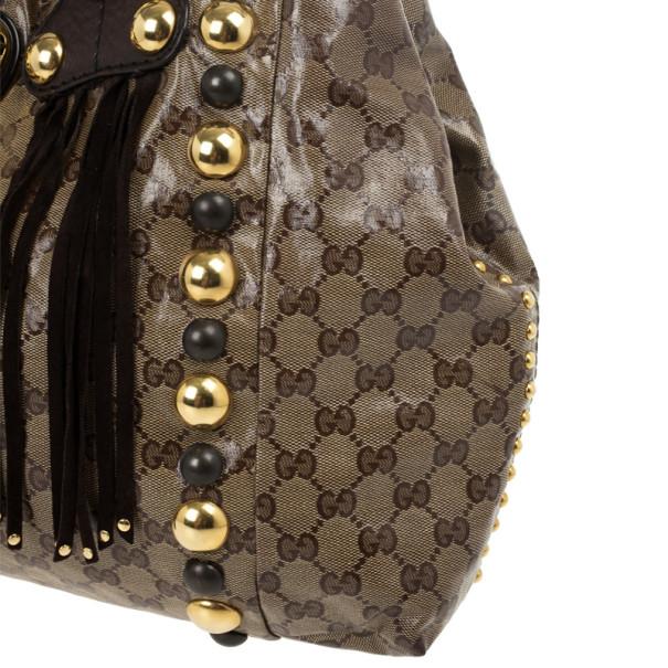 Gucci Beige Ebony GG Crystal Canvas Babouska Heart Tote Bag