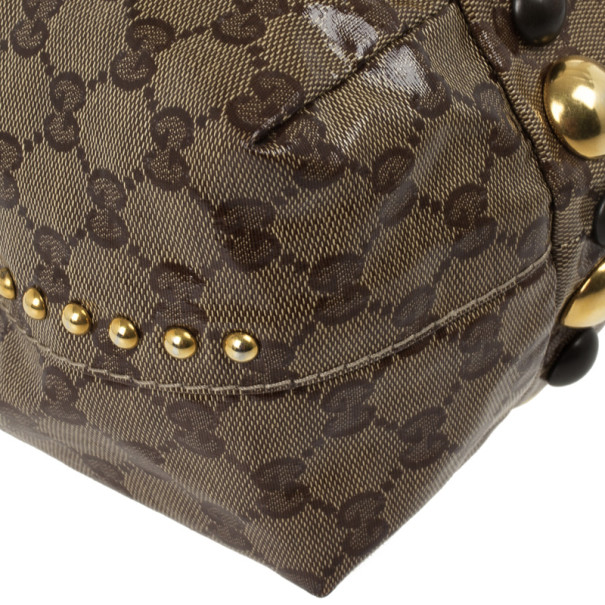 Gucci Beige Ebony GG Crystal Canvas Babouska Heart Tote Bag