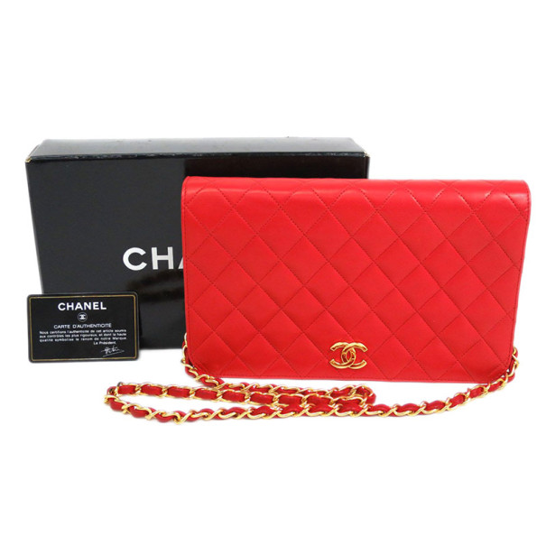 Chanel Red Lambskin Single Flap Shoulder Bag