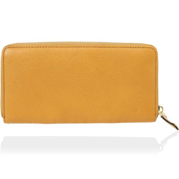 Coach Yellow Madison Leather Accordion Zip Wallet