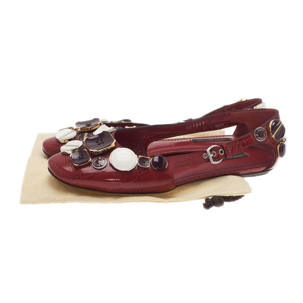 Louis Vuitton Red Patent Leather Embellished Ballet Flats Size 38