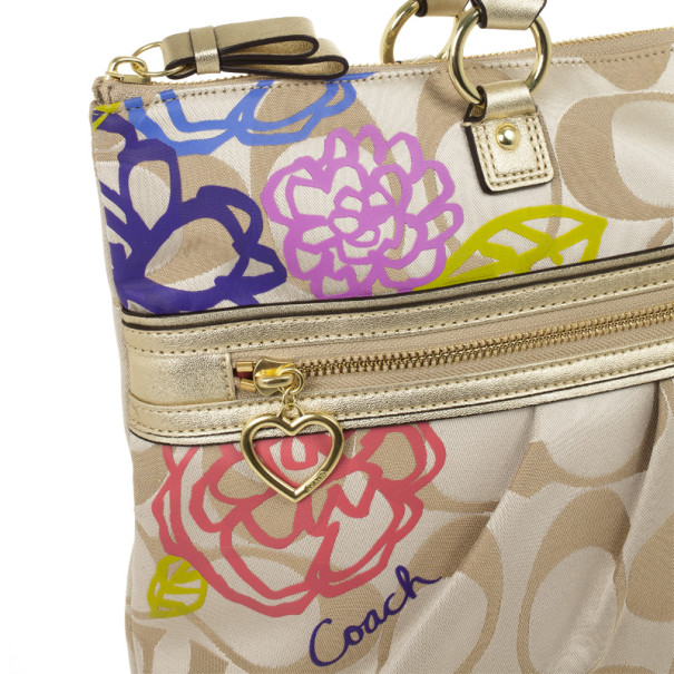 Coach Daisy Applique Multicolor Tote