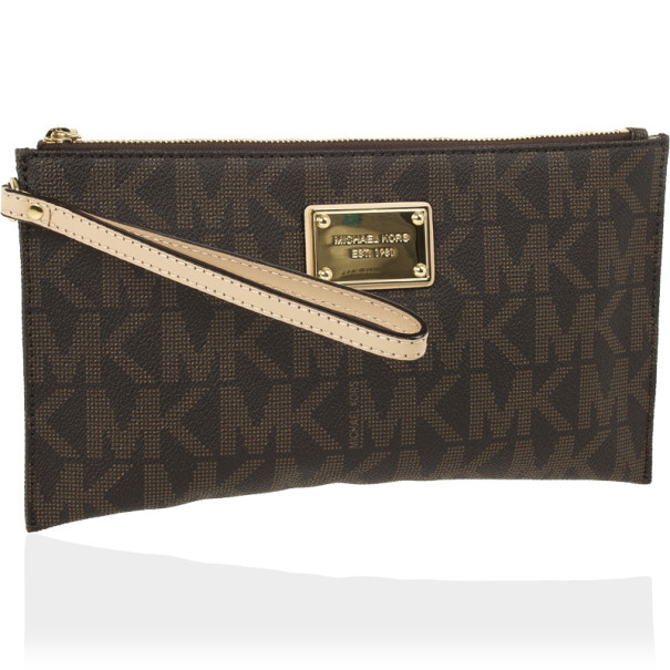 MICHAEL Michael Kors Brown Monogram Large Wristlet