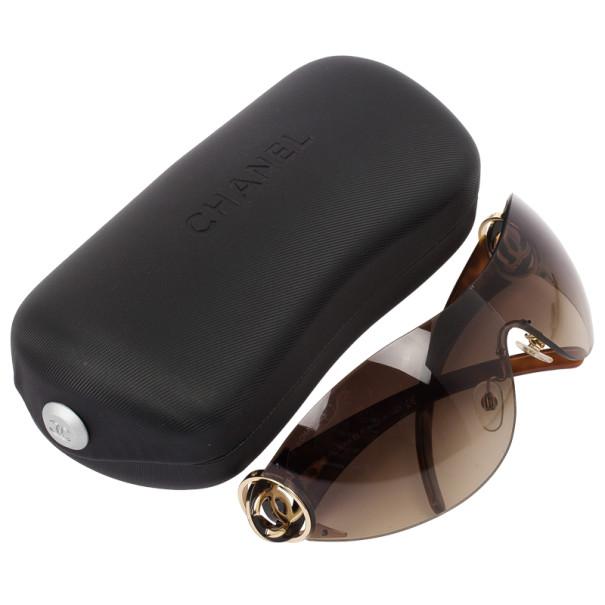 Chanel Brown 'CC' Logo Shield Womens Sunglasses