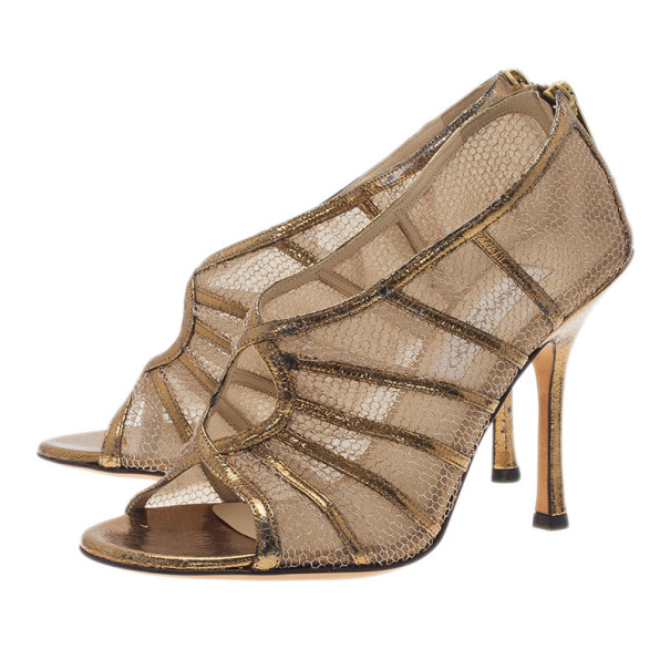 Jimmy Choo Gold Leather and Mesh Back Zip Ankle Booties Size 38