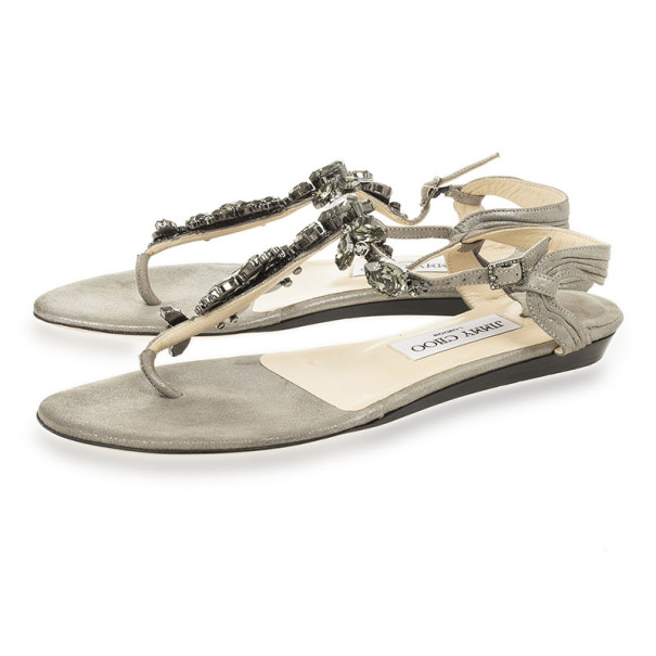 Jimmy Choo Metallic Suede Embellished Thong Sandals Size 37.5