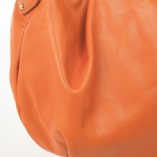 Prada Orange Large Soft Calf Hobo