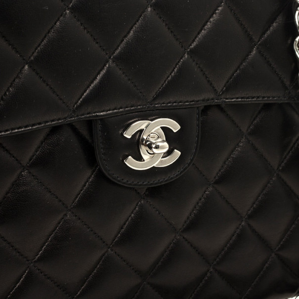 Chanel Black Quilted Lambskin Jumbo Flap Vintage Bag