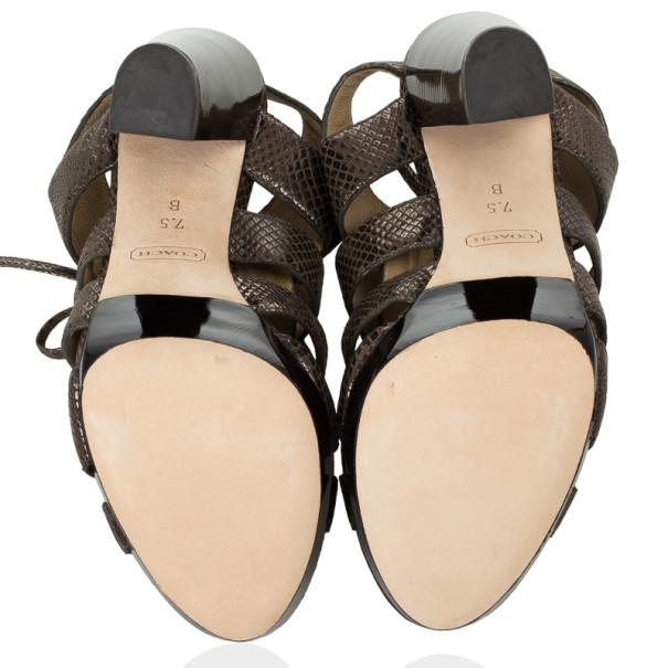 Coach Lizard Embossed Strappy Moreen Platform Sandals Size 38
