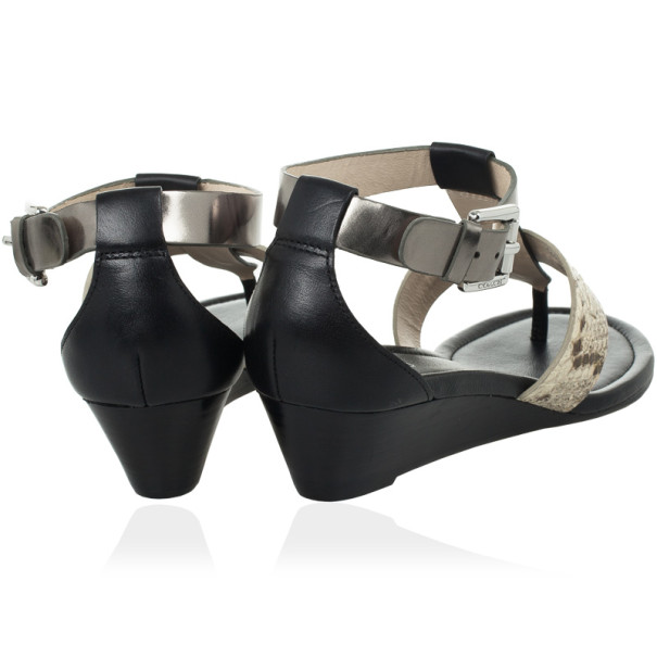 Coach Black Leather & Snakeskin T Strap Velvet Wedges Sandals Size 37