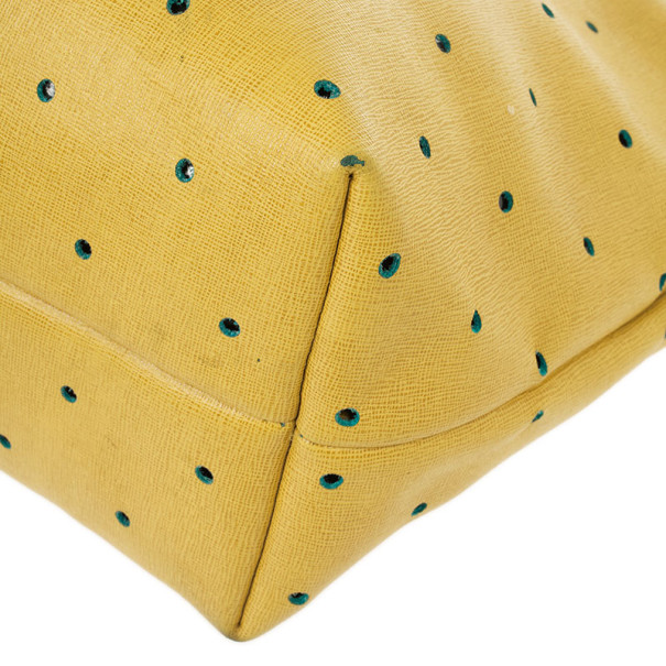 Fendi Yellow Roll Perforated Tote