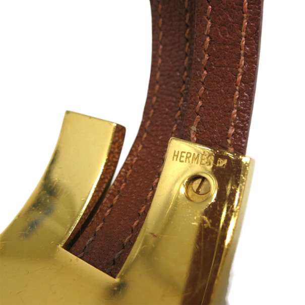 Hermes Brown Leather Cuff Bracelet