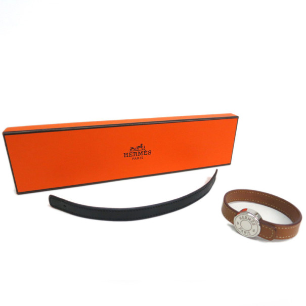 Hermes Looping Interchangeable Leather Brown and Black Bracelet