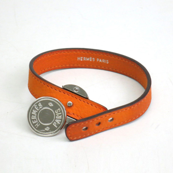 Hermes Looping Interchangeable Leather Orange and Black Bracelet