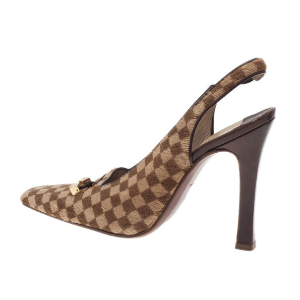 Louis Vuitton Brown Pony Hair Slingback Sandals Size 39