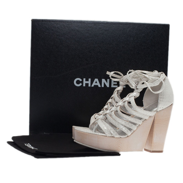 Chanel Cream Python Wooden Strappy Platform Wedge Sandals Size 37