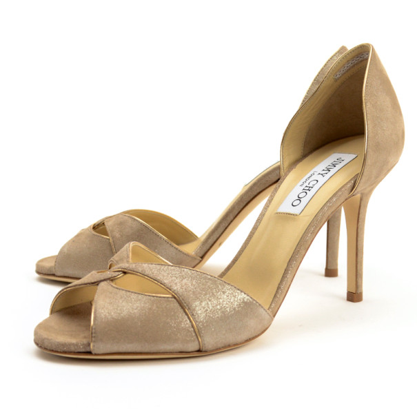 Jimmy Choo Lydia Metallic Suede & Mirror Leather D'orsay Pumps Size 38