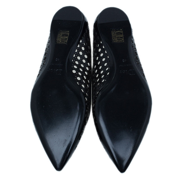 Dior Black Leather Cannage Cutout Ballet Flats Size 40