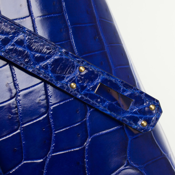 Hermes Bleu Electrique Niloticus Crocodile Kelly Cut Clutch